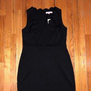 NWT - Loft Black V-Neck Ruffle Dress